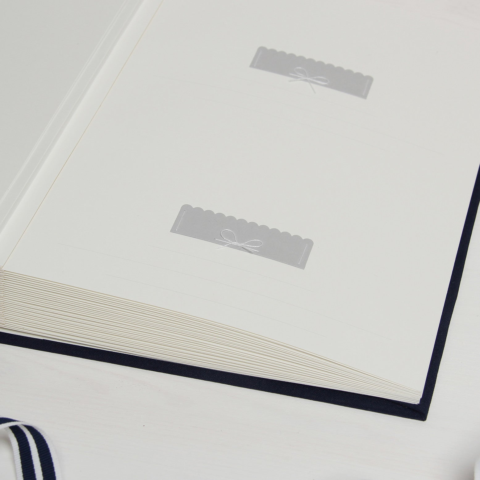 Nautical Instant Wedding Guest Sign in Book Album with White Lettering - Liumy