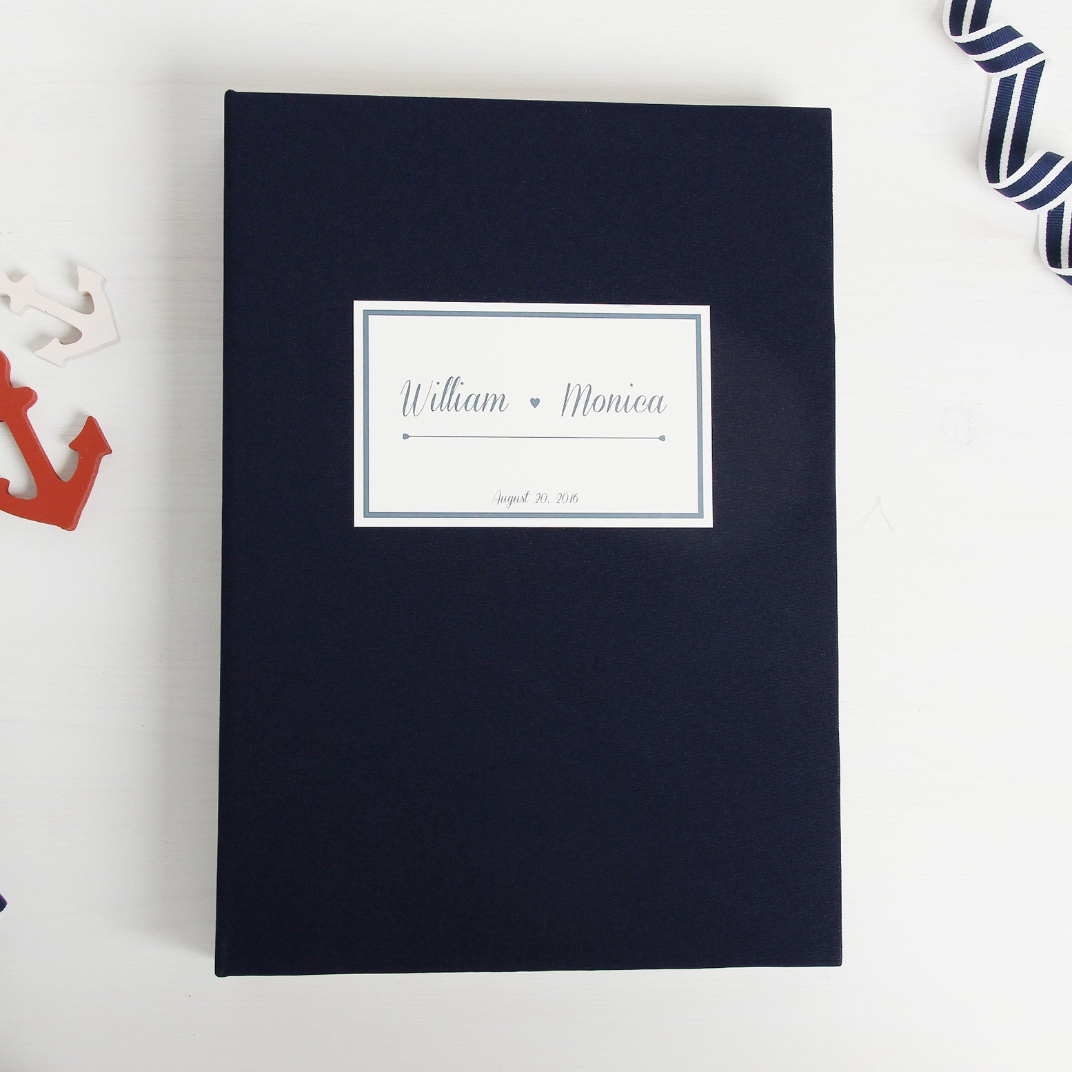 Wedding Guest Book Sign in Book Instant Album Nautical with Paper Label - Liumy