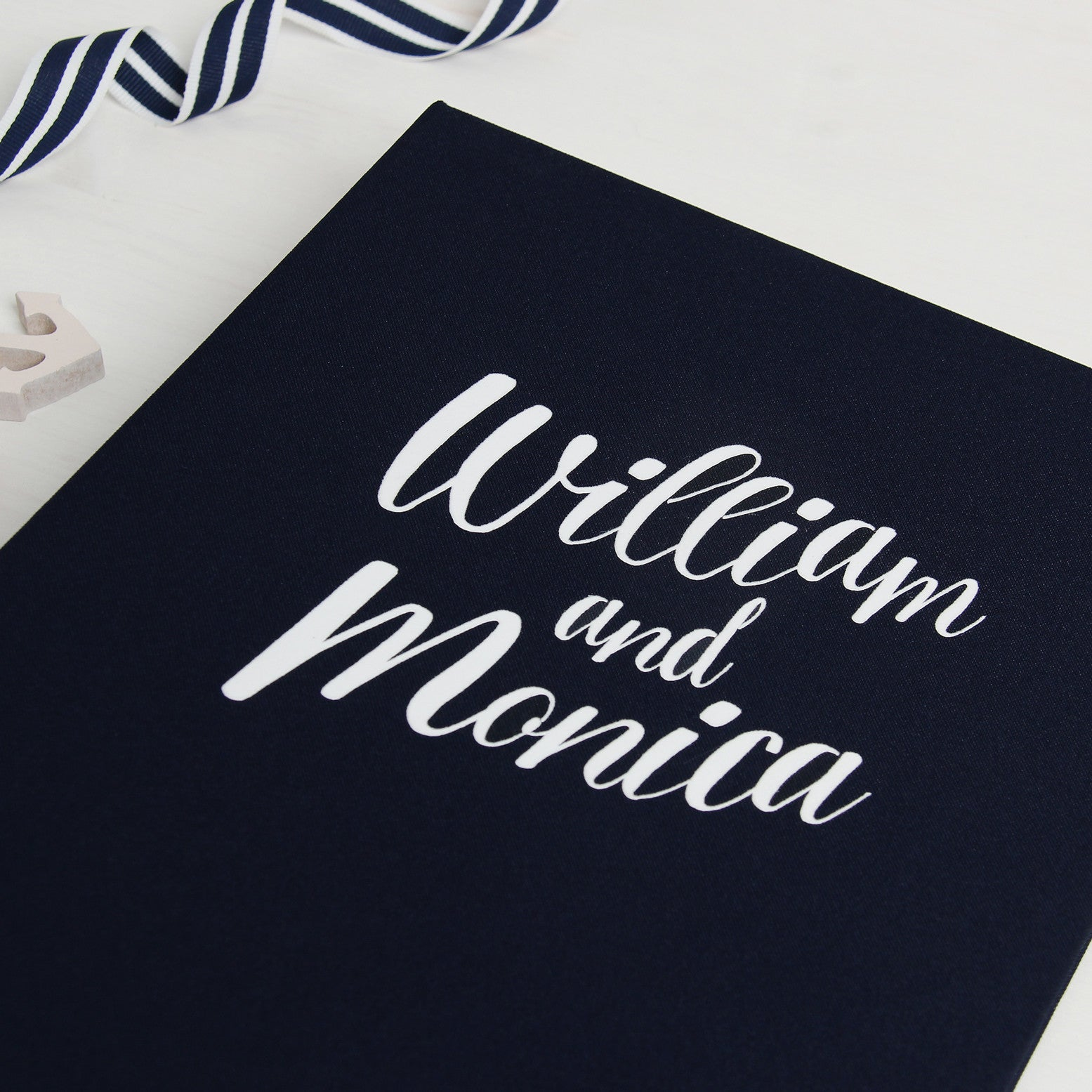 Instax Nautical Wedding Guest Sign in Book Album with White Lettering - Liumy