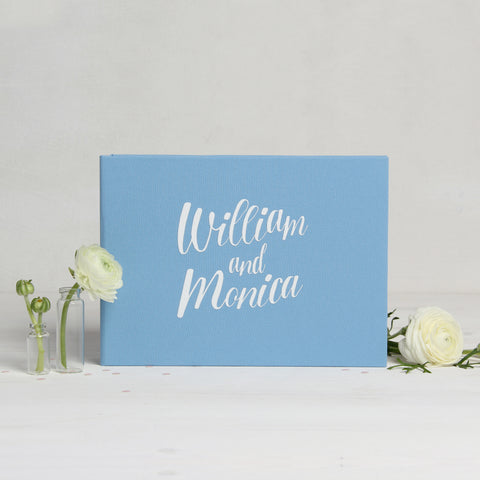 Wedding Album Serenity Aquamarine With White Lettering Guest Book, Photo Guestbook Album - Liumy
