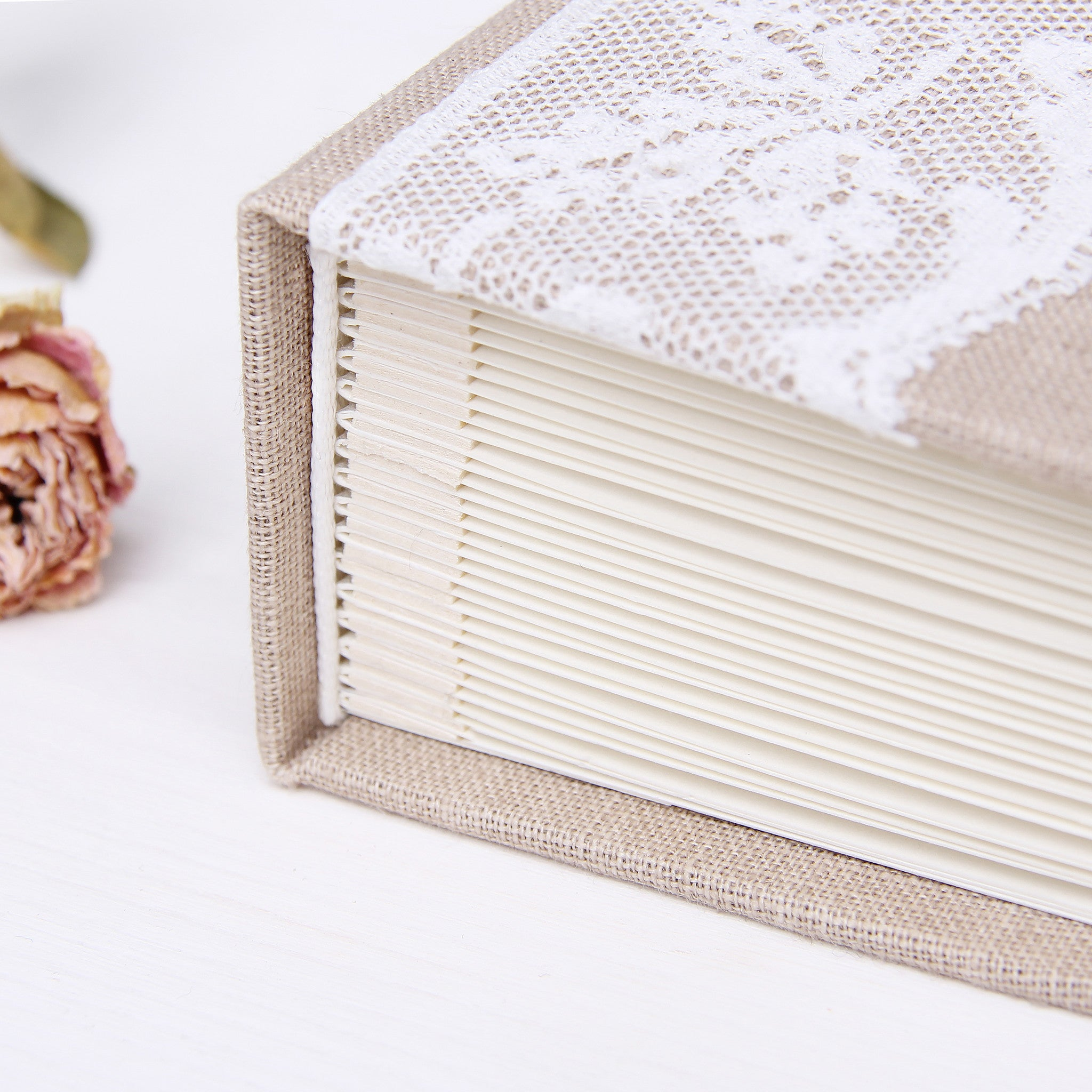 Instant Wedding Guest Book Album Instax Rustic with Light Lace - Liumy