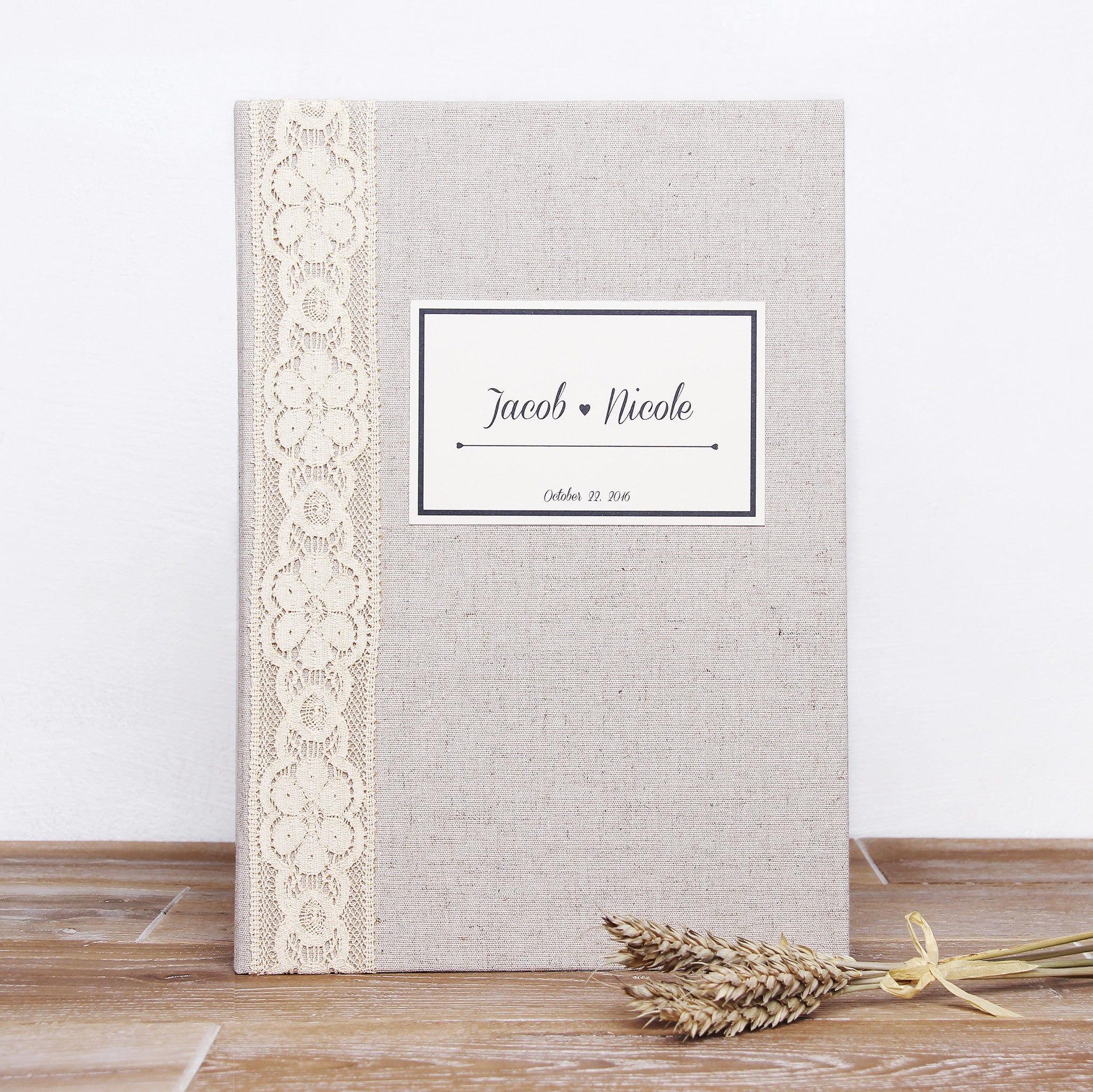 Instant Wedding Guest Book Album Instax Rustic with Ivory Lace Paper Label - By Liumy