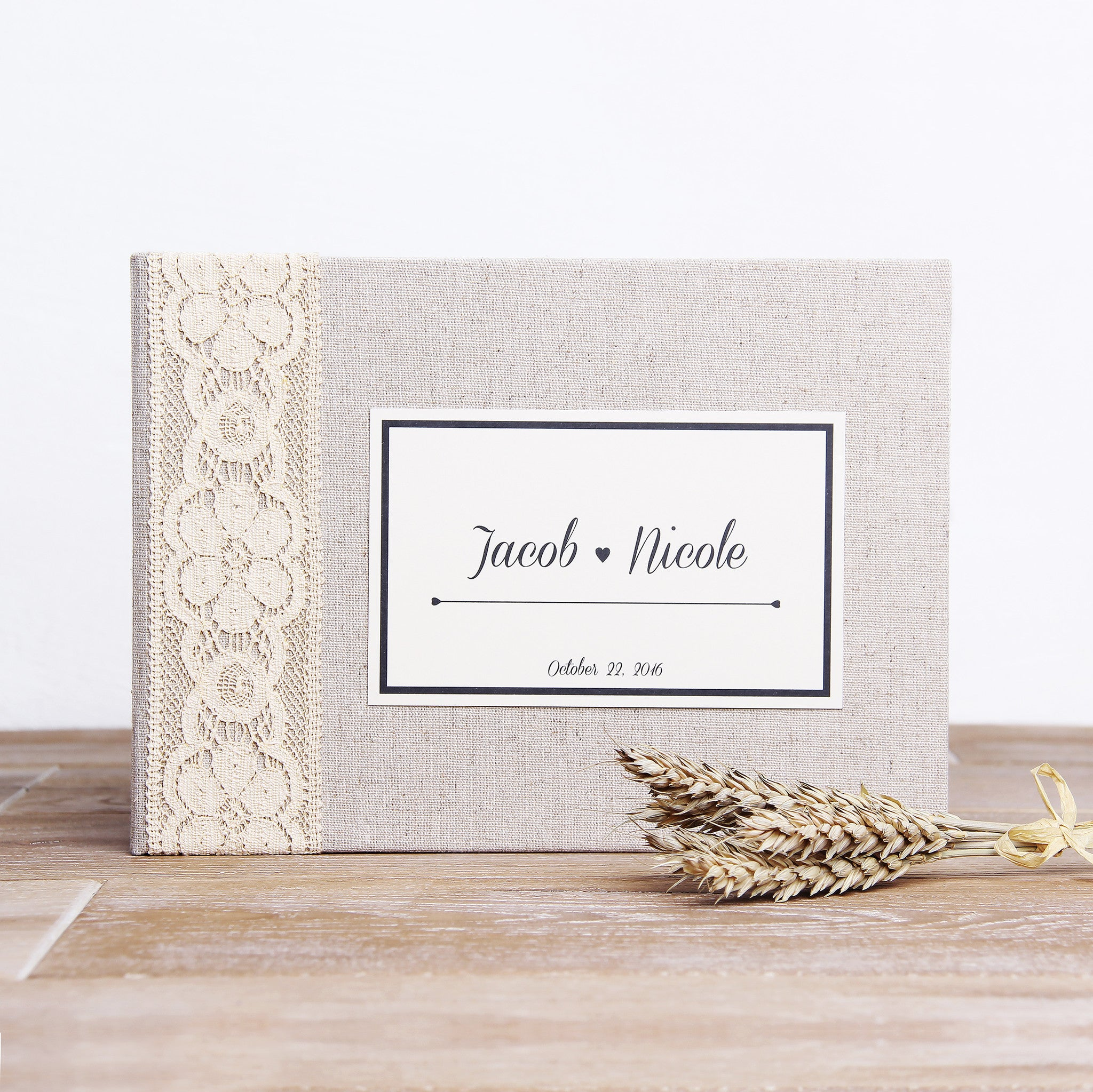 Instant Wedding Guest Book Album Instax Rustic with Ivory Lace Paper Label - By Liumy - Liumy