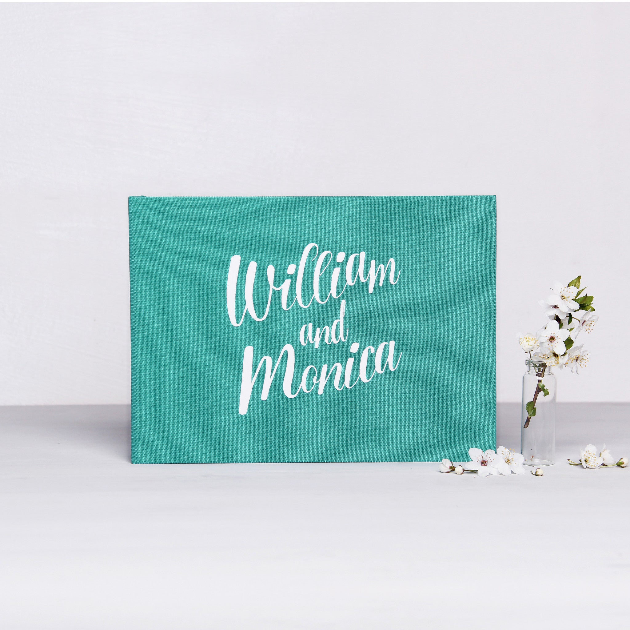 Wedding Instax Guest Book Sign in Book Instant Album Teal Blue with Gold Lettering - Liumy