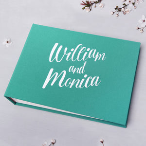 Wedding Instax Guest Book Sign in Book Instant Album Teal Blue with White Lettering - Liumy