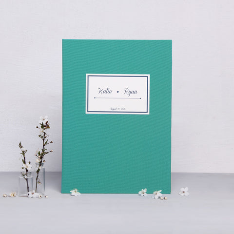 Wedding Album Guest Book Sign in Book Teal Blue with Paper Label - Liumy