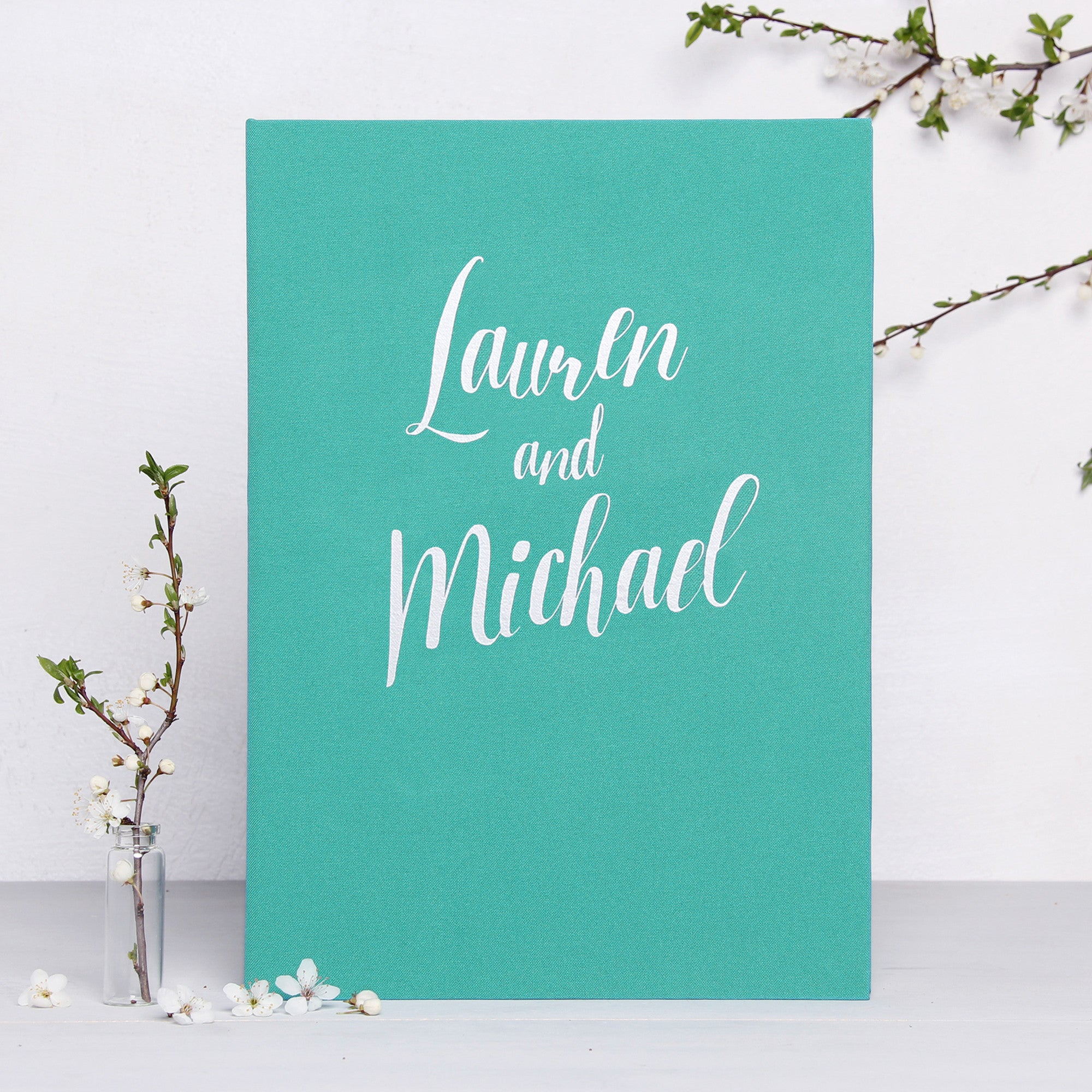 Instax Wedding Guest Book Album Teal Blue with Silver Lettering - Liumy