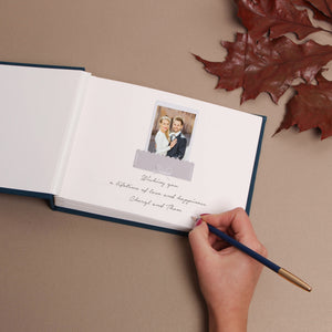 Petrol Blue Instax Photo Pocket Guestbook Rose Gold modern Lettering, Personalized Wedding Album, Indigo blue Guest book - by Liumy - Liumy