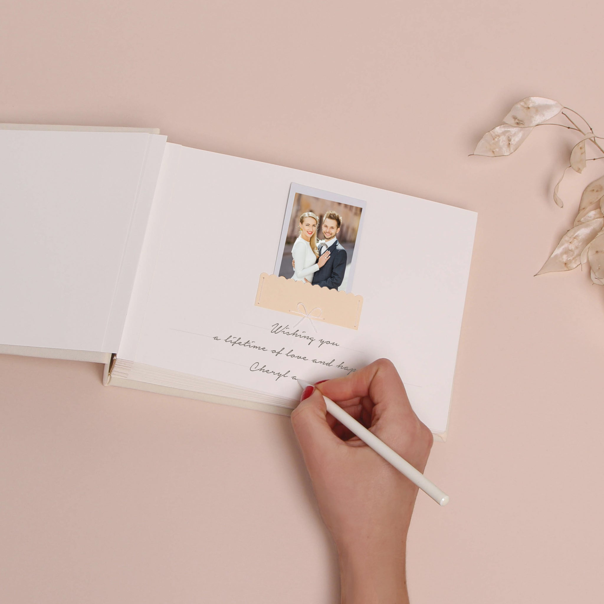 Alternative Instax Photo Guestbook, Ivory cover with Rose gold modern Lettering, Personalized Wedding Album, Wedding book - by Liumy - Liumy