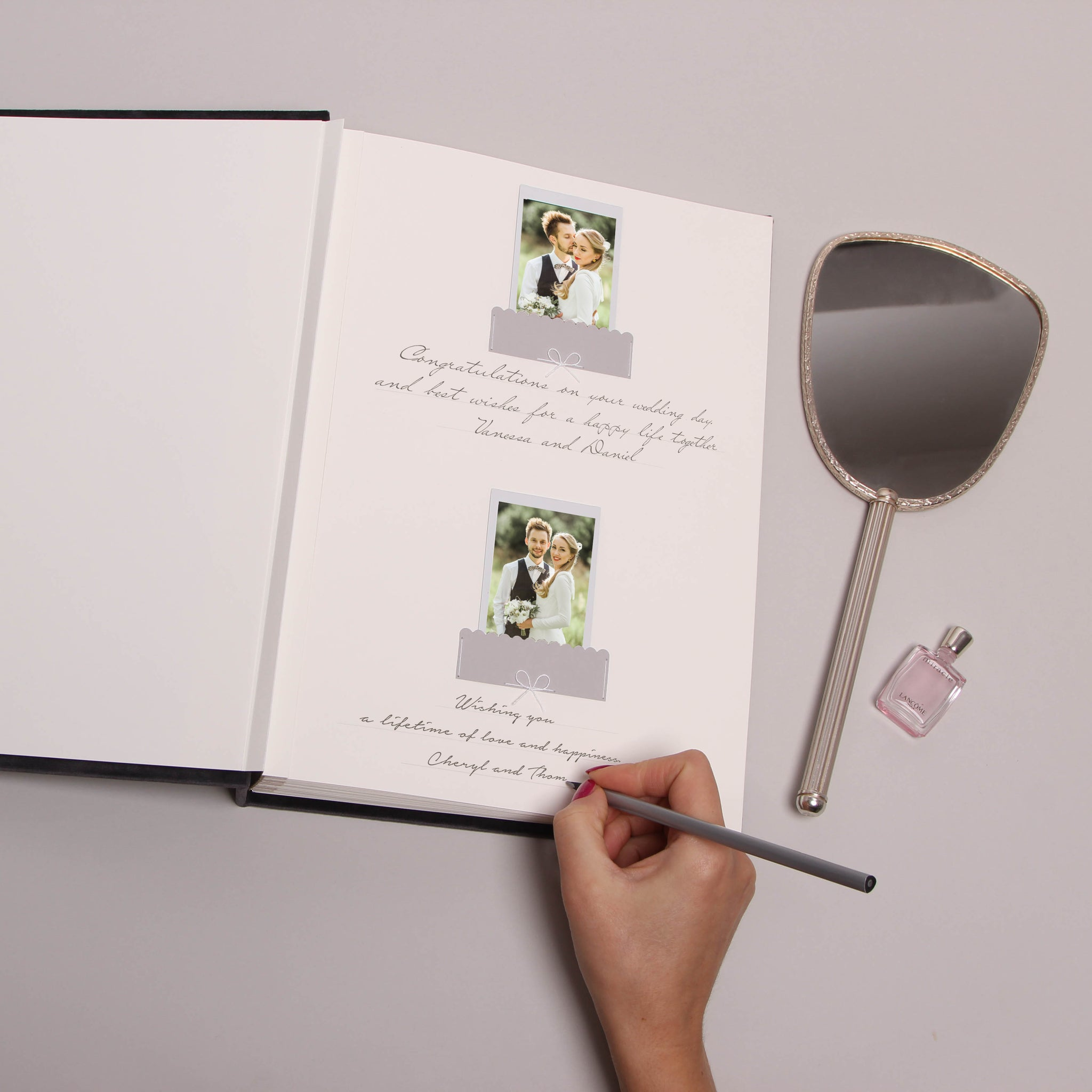 Dark Gray Velour Real Silver Foil Album With Lettering, Instax photo album by Liumy - Liumy