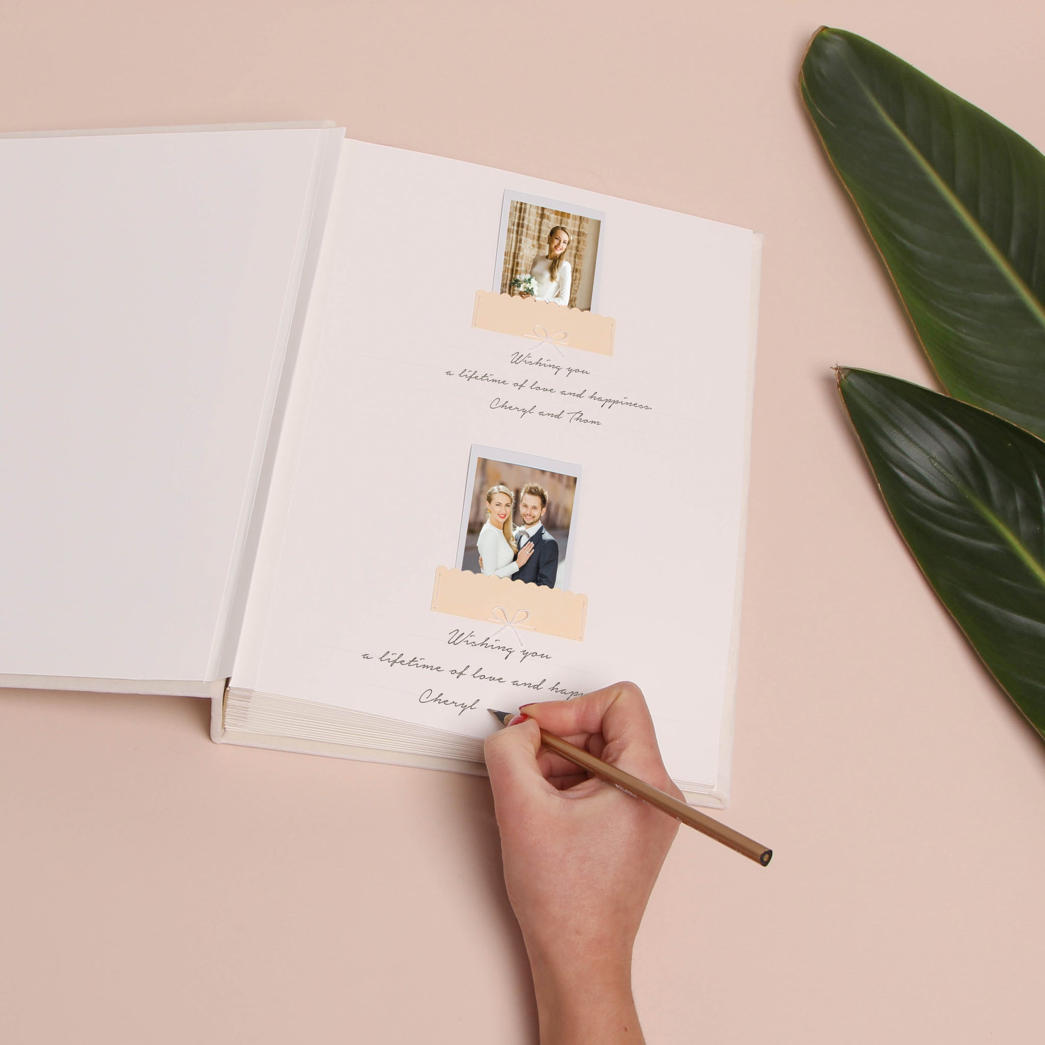 Instax Photo Guestbook Ivory Velour Love Story Rose Gold Lettering, Personalized Wedding Album, Alternative Guestbook - by Liumy - Liumy