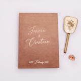 Latte Velour Instax Photo Guestbook, Rose Gold Lettering, Almond Personalized Wedding Album, Alternative Guestbook - by Liumy - Liumy