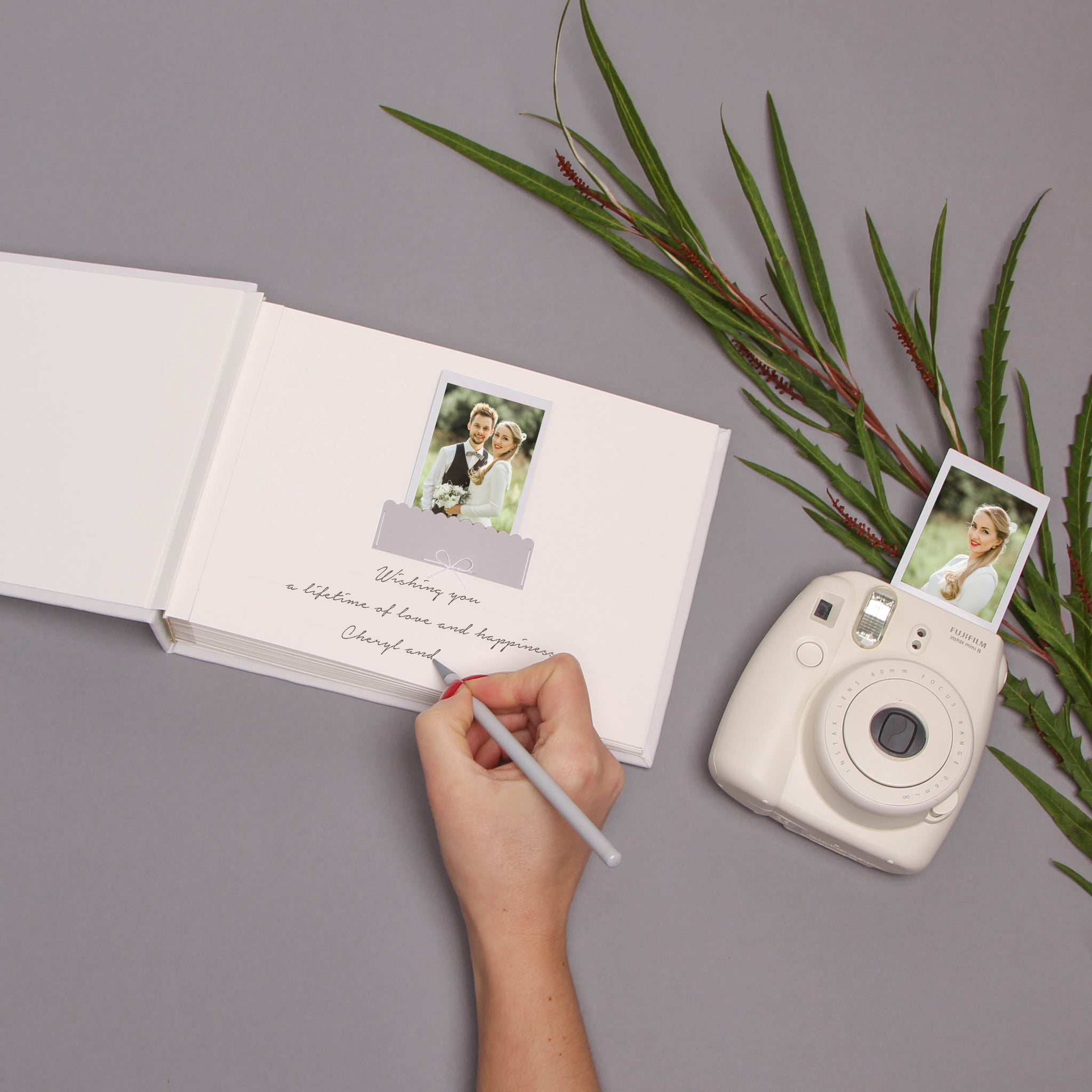 Alternative Wedding Guest Book White color with Typewrite With Gray Velour Lettering, Instax mini album, Birthday Album, instant - by Liumy - Liumy