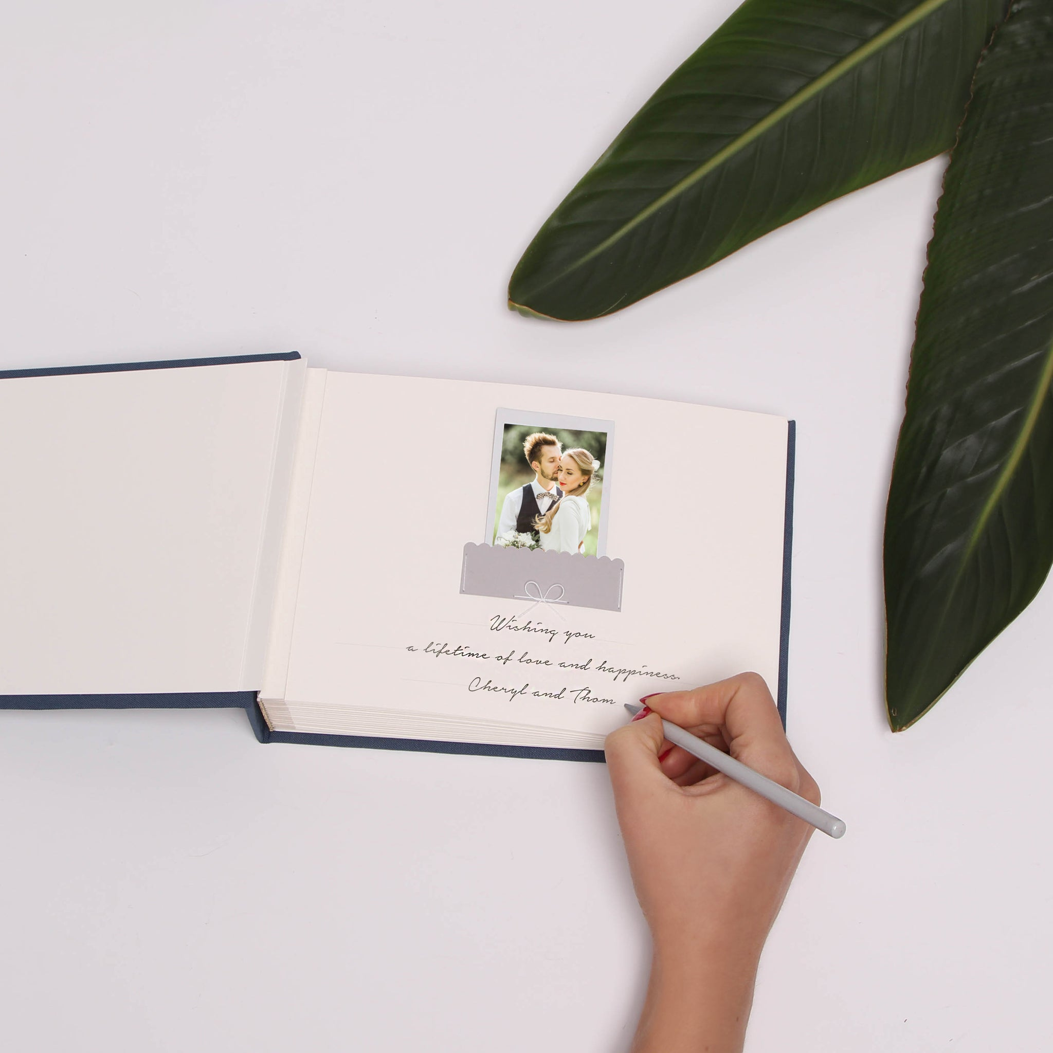 Instax Photo Pocket Guestbook Air force dark dusty blue Real Silver modern Lettering Personalized Wedding Album French dark dusty blue, Guest book - Liumy
