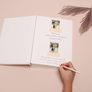 Alternative Wedding Guestbook Chic Ivory Velour Album, Rose Gold Foil Lettering, Instax photo album, Photobooth Birthday Album - by Liumy - Liumy