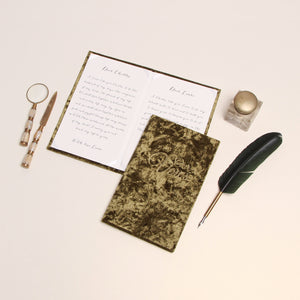 Wedding Vow Books, Moos green velour, Khaki Velour Keepsake Calligraphy Her Vows Bride and Groom Ceremony - Liumy