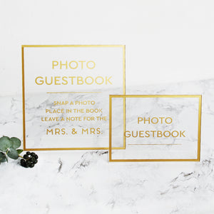 Big Gold Foil Sign - Acrylic Wedding Sign - Guest book Glass Sign - Transperant Photo Guestbook Sign - by Liumy - Liumy