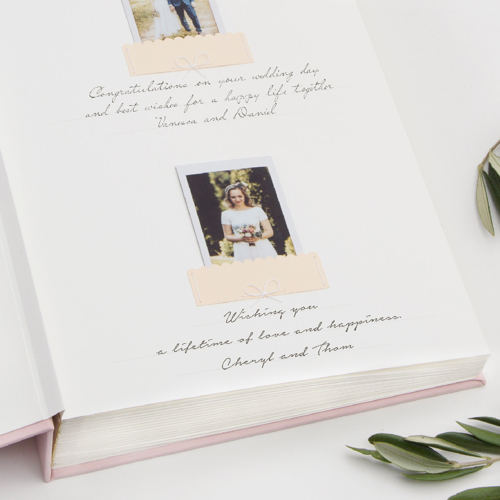 Wedding Album Pink With Ivory Ribbon, Rose Quartz Wedding Guest Book - Liumy