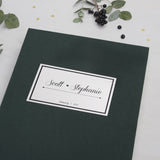 Photo Booth Wedding Guest Book Album Forest Green with Paper Label - Liumy