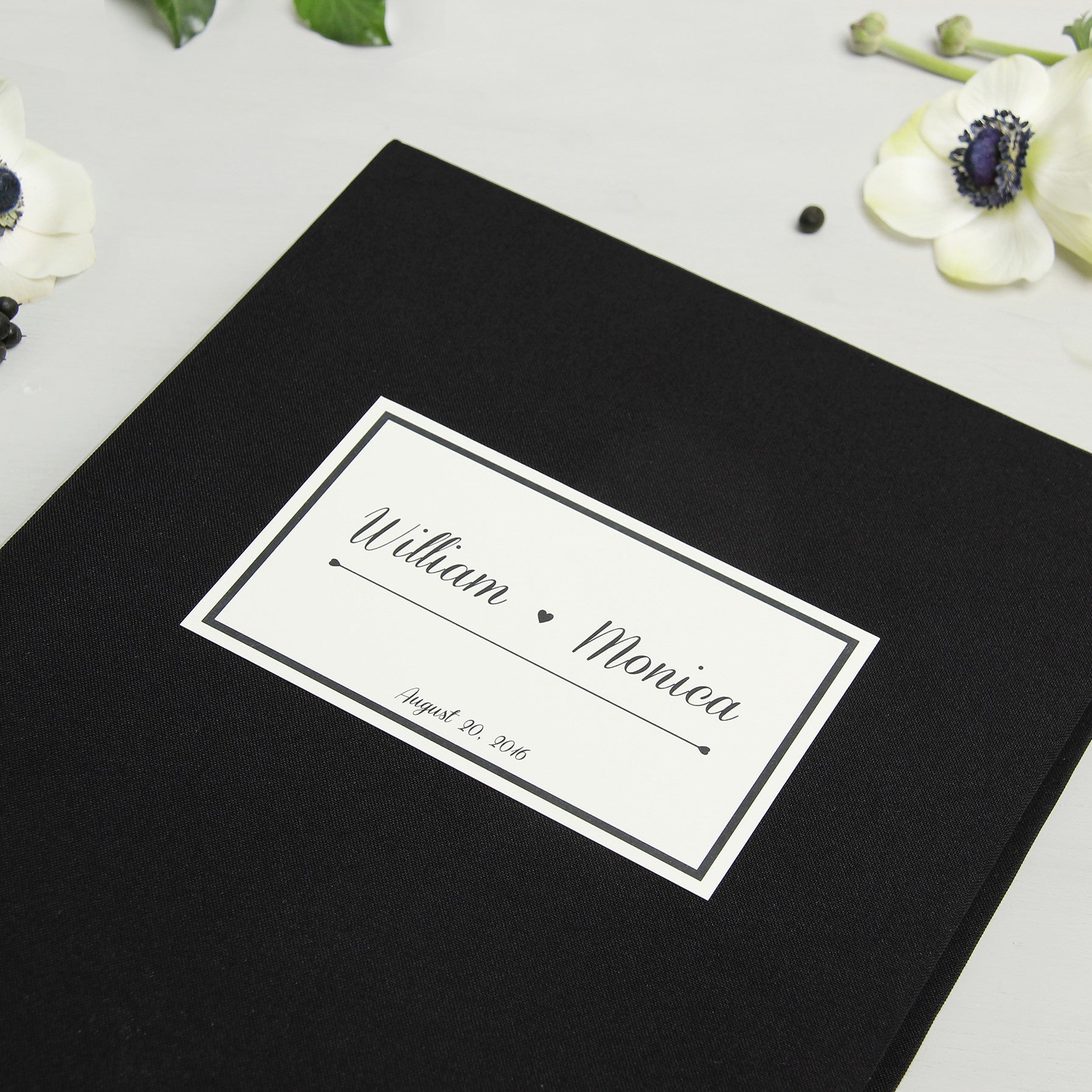 Instant Guest Book Sign in Book Album Black with Paper Label - Liumy