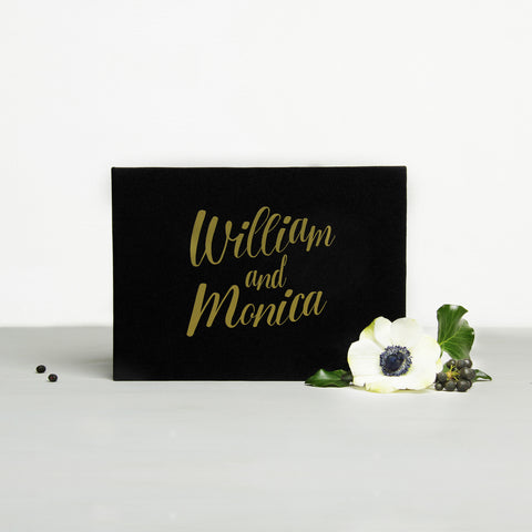 Guest Book Sign in Book Instant Album Gold with White Lettering, Guestbook Ideas - Liumy
