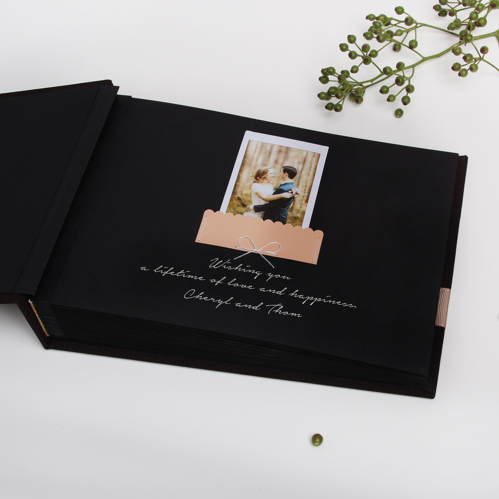 Chocolate Wedding Guest Book Album Cream Ribbon with Personalised first Page by Liumy - Liumy