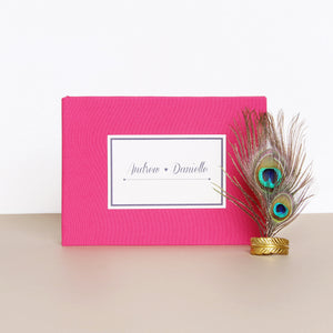 Wedding Guest Book Sign in Book Instant Album Magenta with Paper Label by Liumy - Liumy