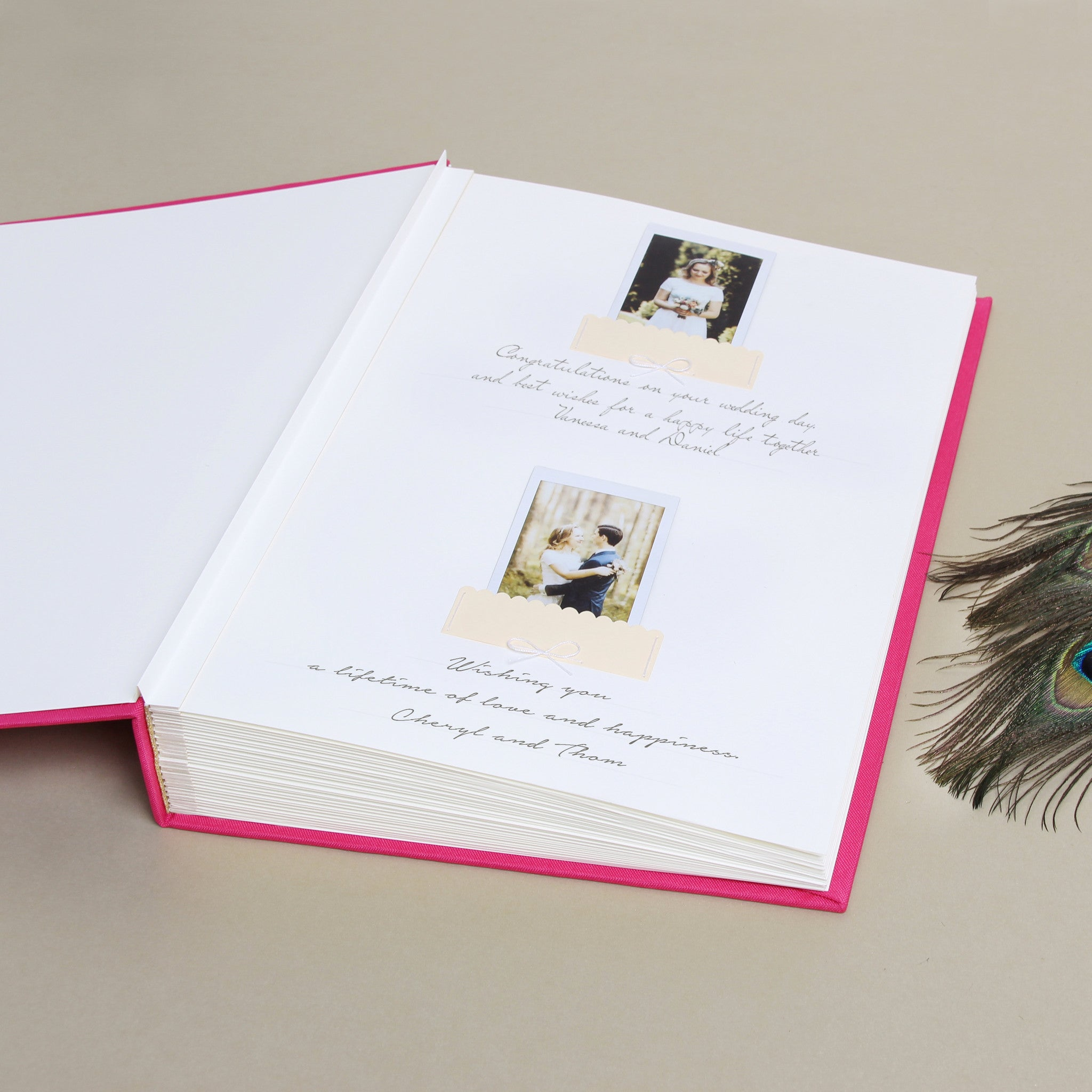 Wedding Guest Book Sign in Book Instant Album Magneta with Paper Label by Liumy - Liumy