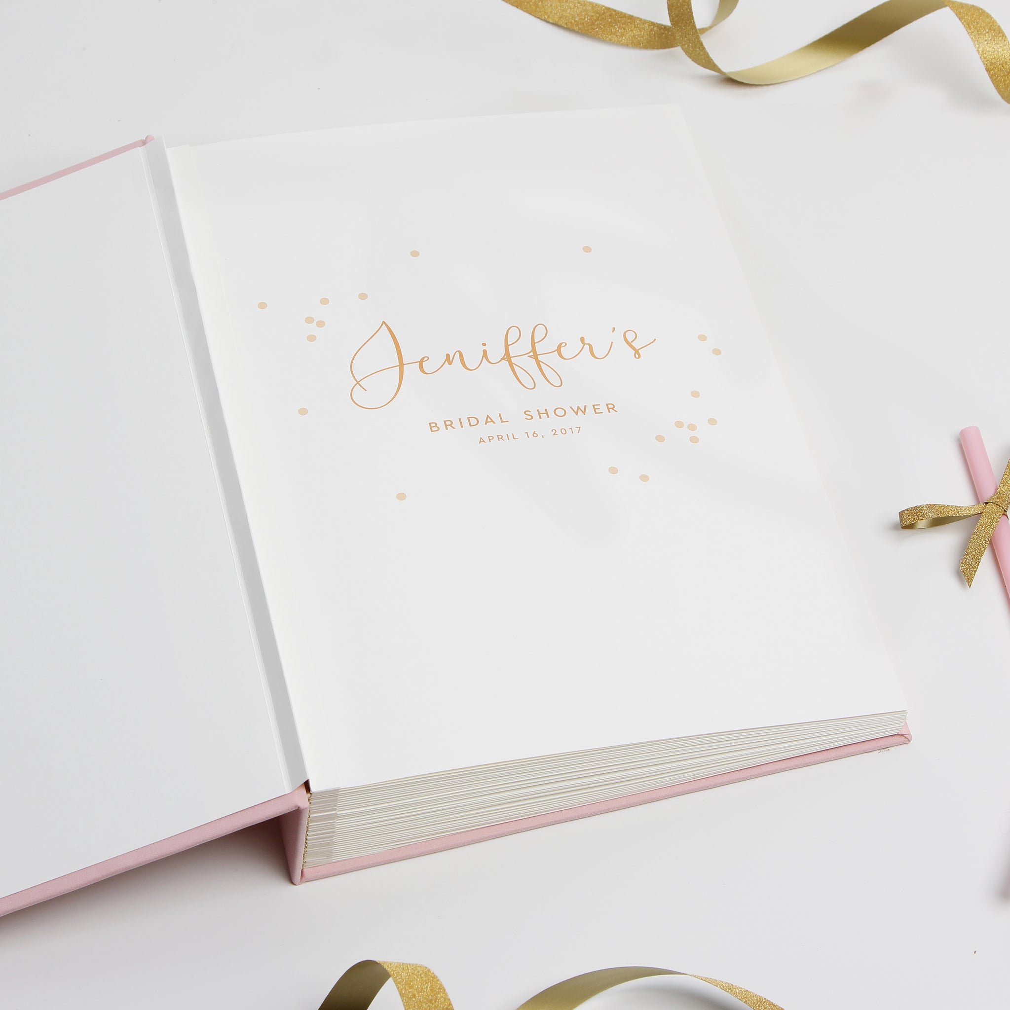 Personalized Bridal Shower Guest Book - Pink Album with Gold Glitter Foil for Hen Party - Liumy