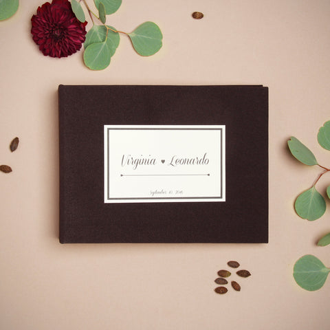 Chocolate Wedding Guest Book Sign in Book Instant Album Lavender with Paper Label by Liumy - Liumy