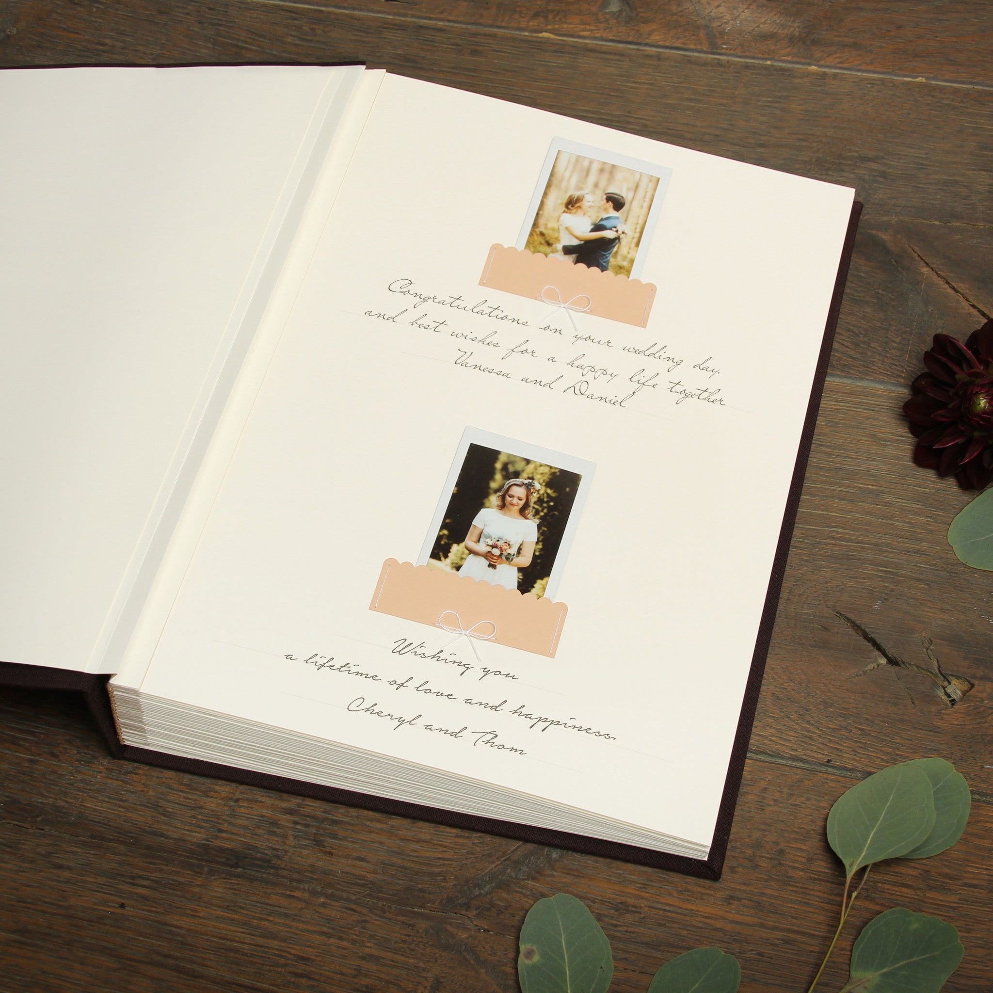 Pocket Guest Book: Chocolate Instant Wedding Guest Book Album With White