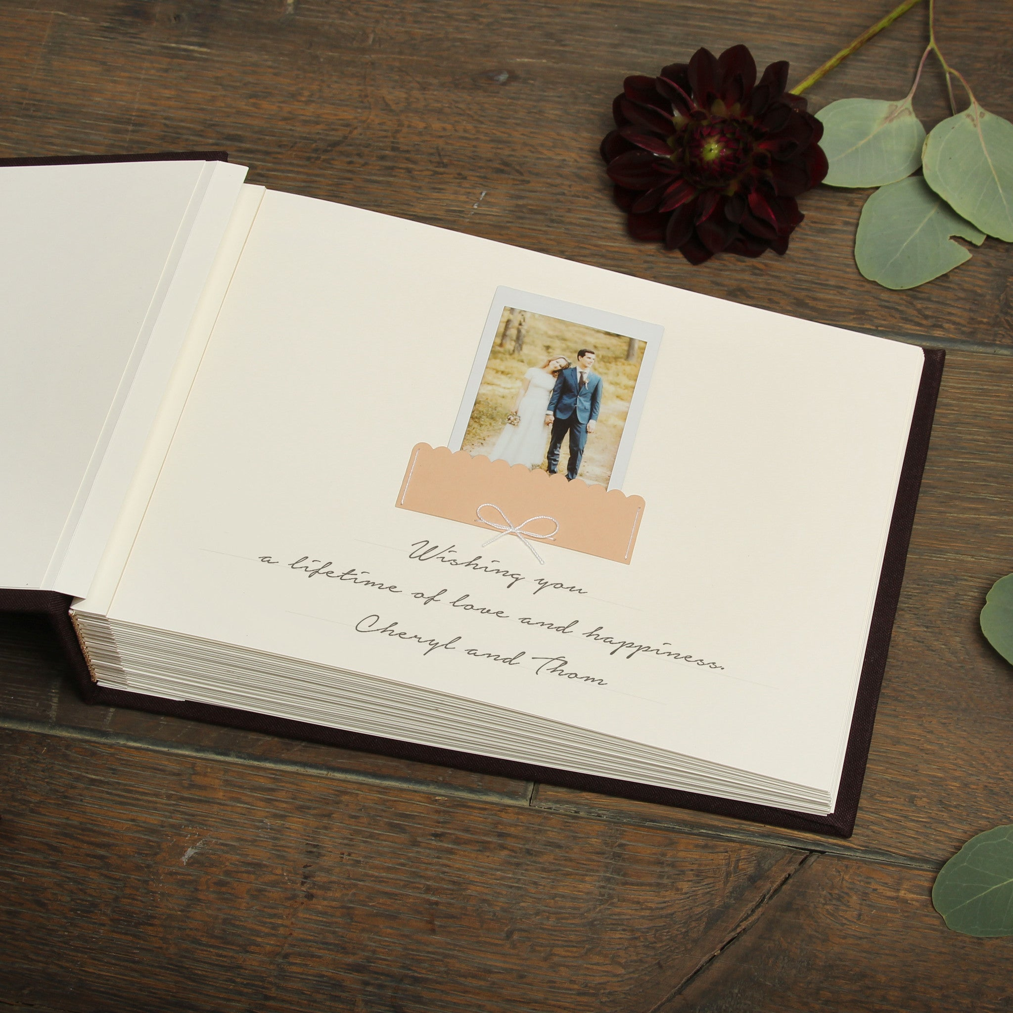 Chocolate Instant Wedding Guest Book Album with White Lettering by Liumy - Liumy