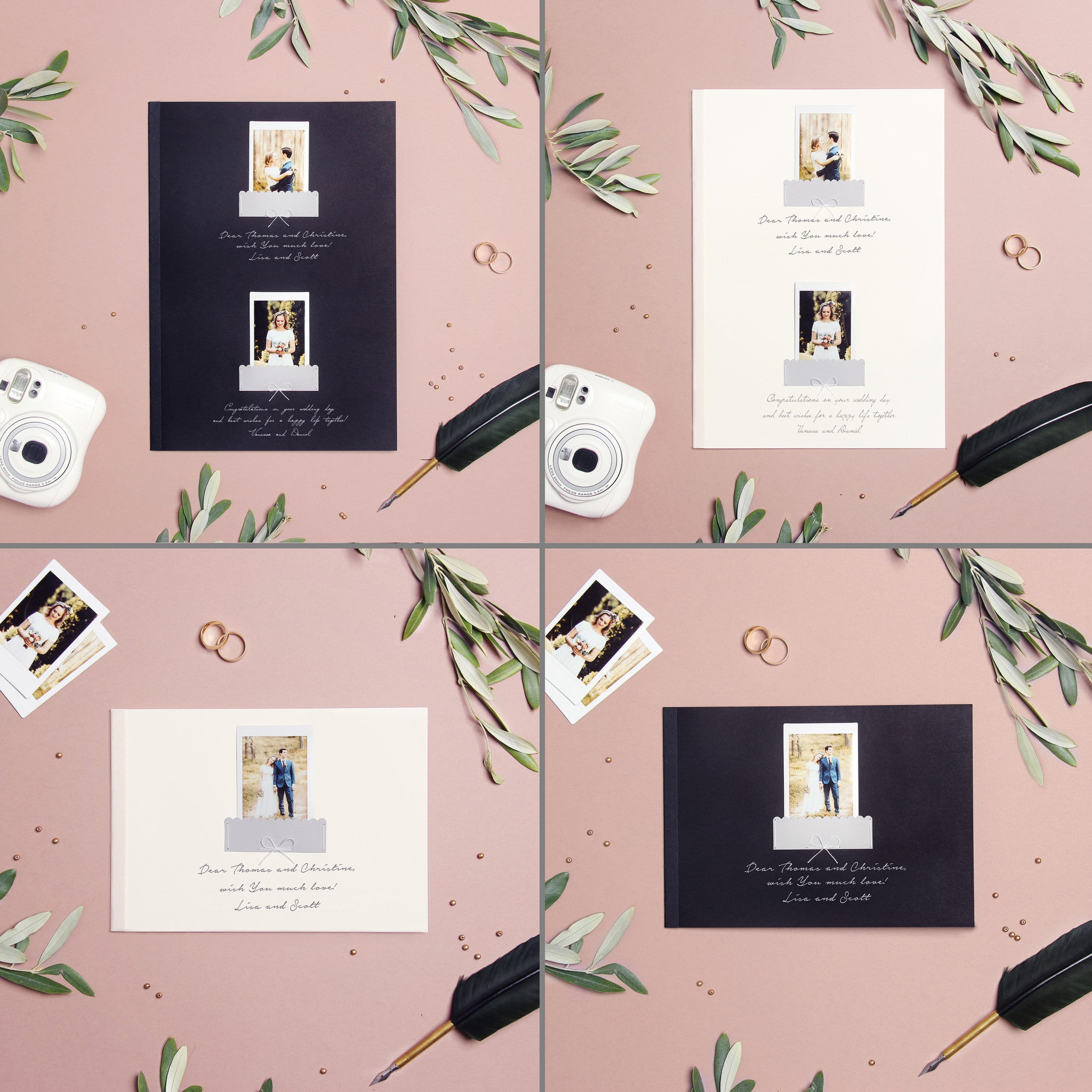 wedding guest book bridal shower album gray with gold foil lettering liumy
