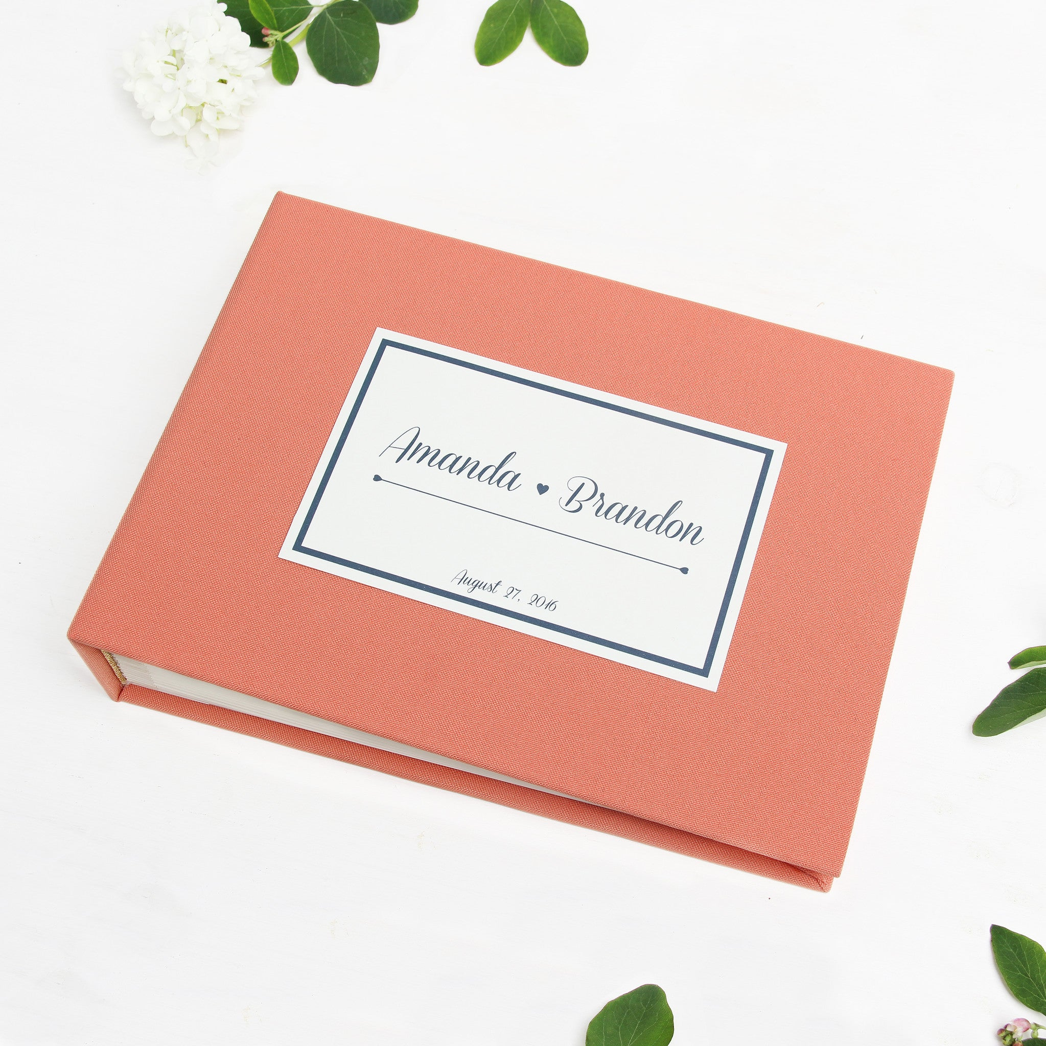 Guest Book Sign in Book Wedding Instant Photo Album Coral with Paper Label by Liumy - Liumy