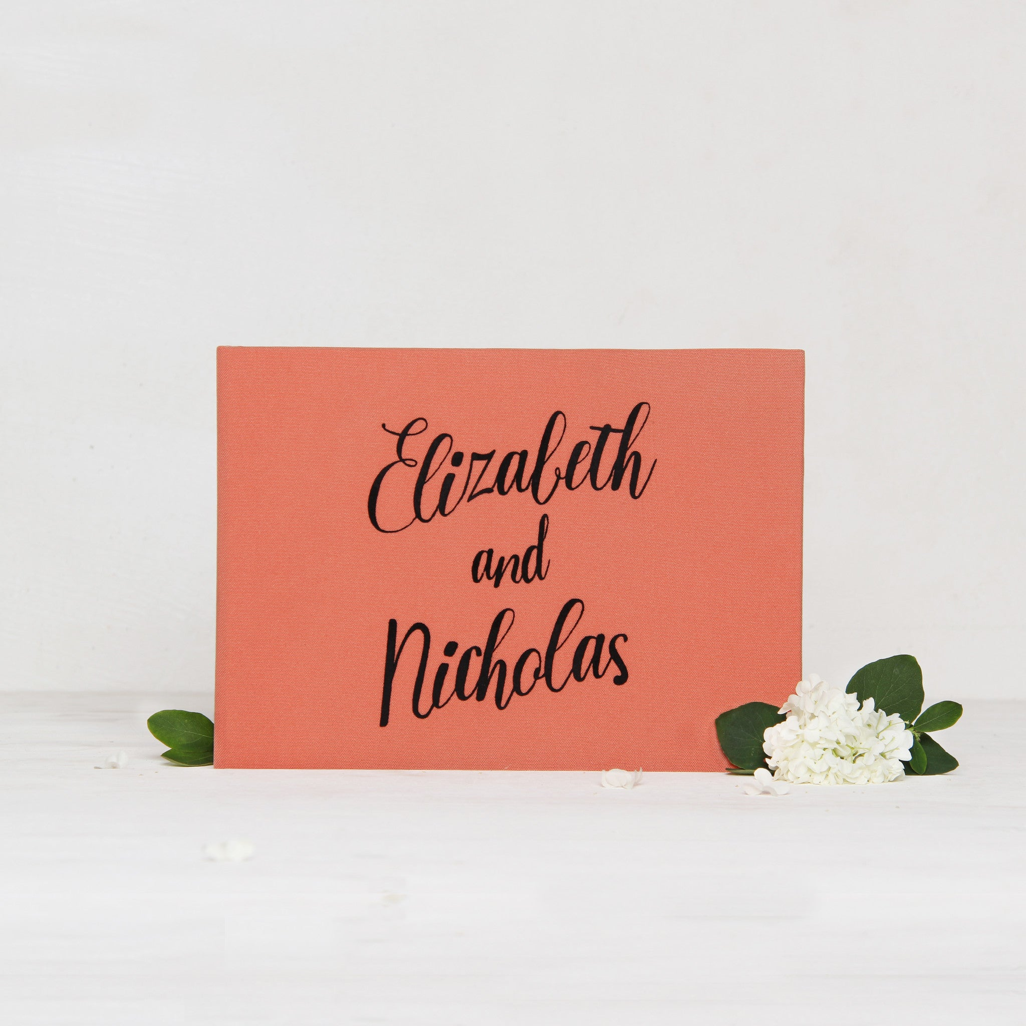 Guest Book Sign in Book Instant Album Coral with Black Lettering by Liumy - Liumy