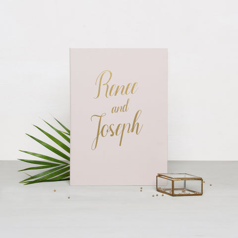 Guest Book Sign in Book Instant Album Cream with Gold Foil Lettering, Birthday Album by Liumy