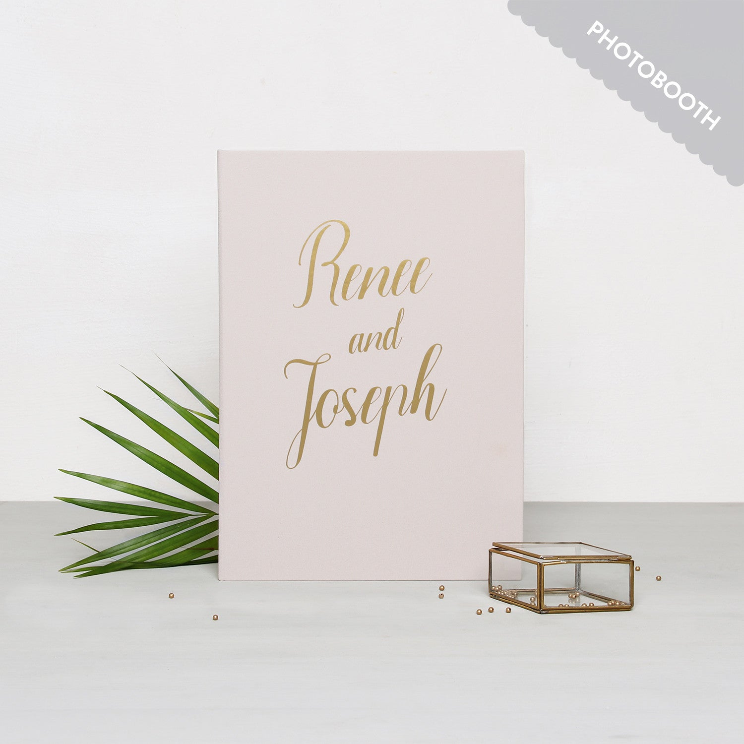 Photo Booth Wedding Guest Book Album Cream with Gold Lettering - Liumy