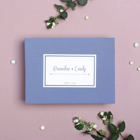 Guest Book Sign in Book Wedding Instant Photo Album Dusty Blue with Paper Label by Liumy - Liumy