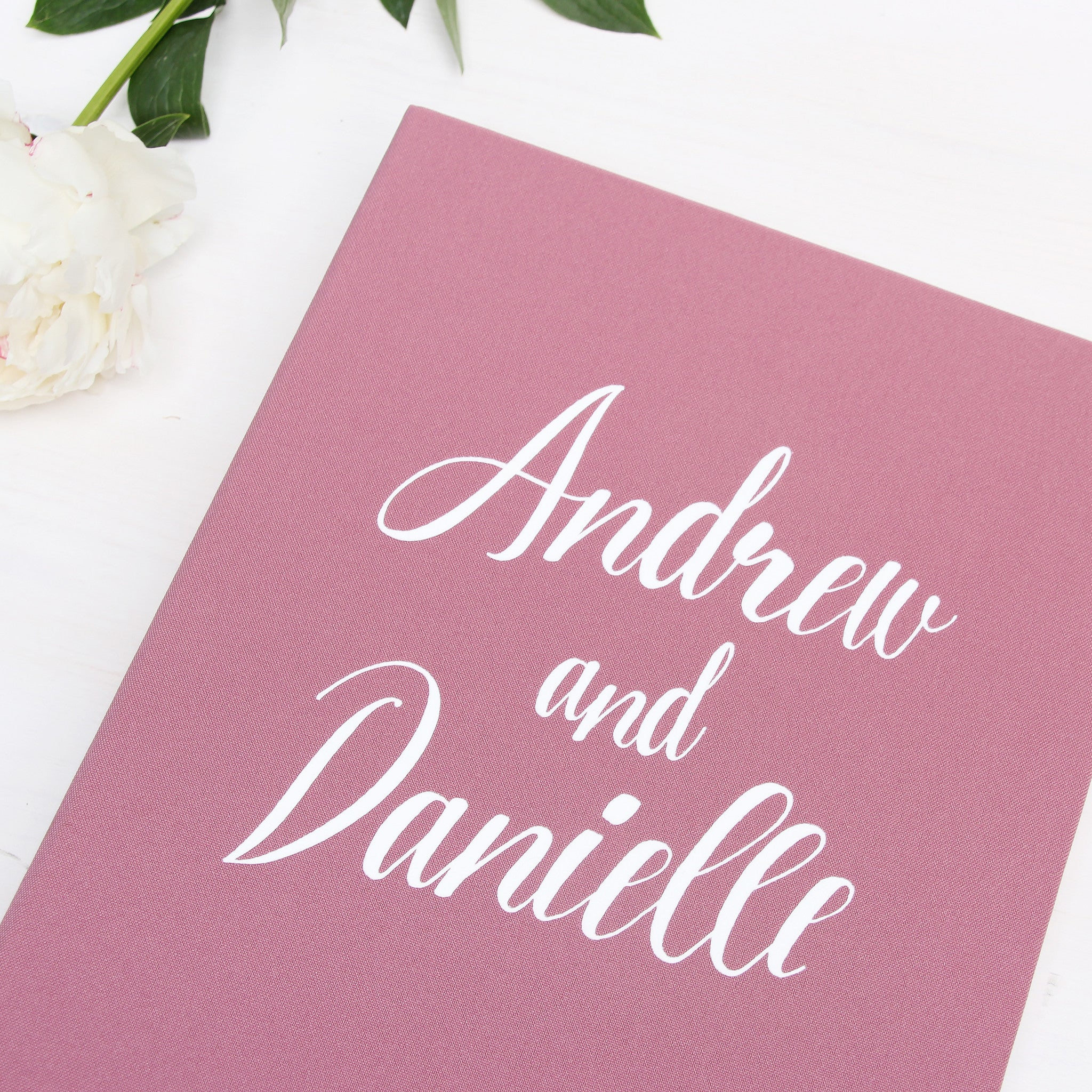 Wedding Instax Guest Book Sign in Book Instant Album Dusty Pink with White Lettering - Liumy