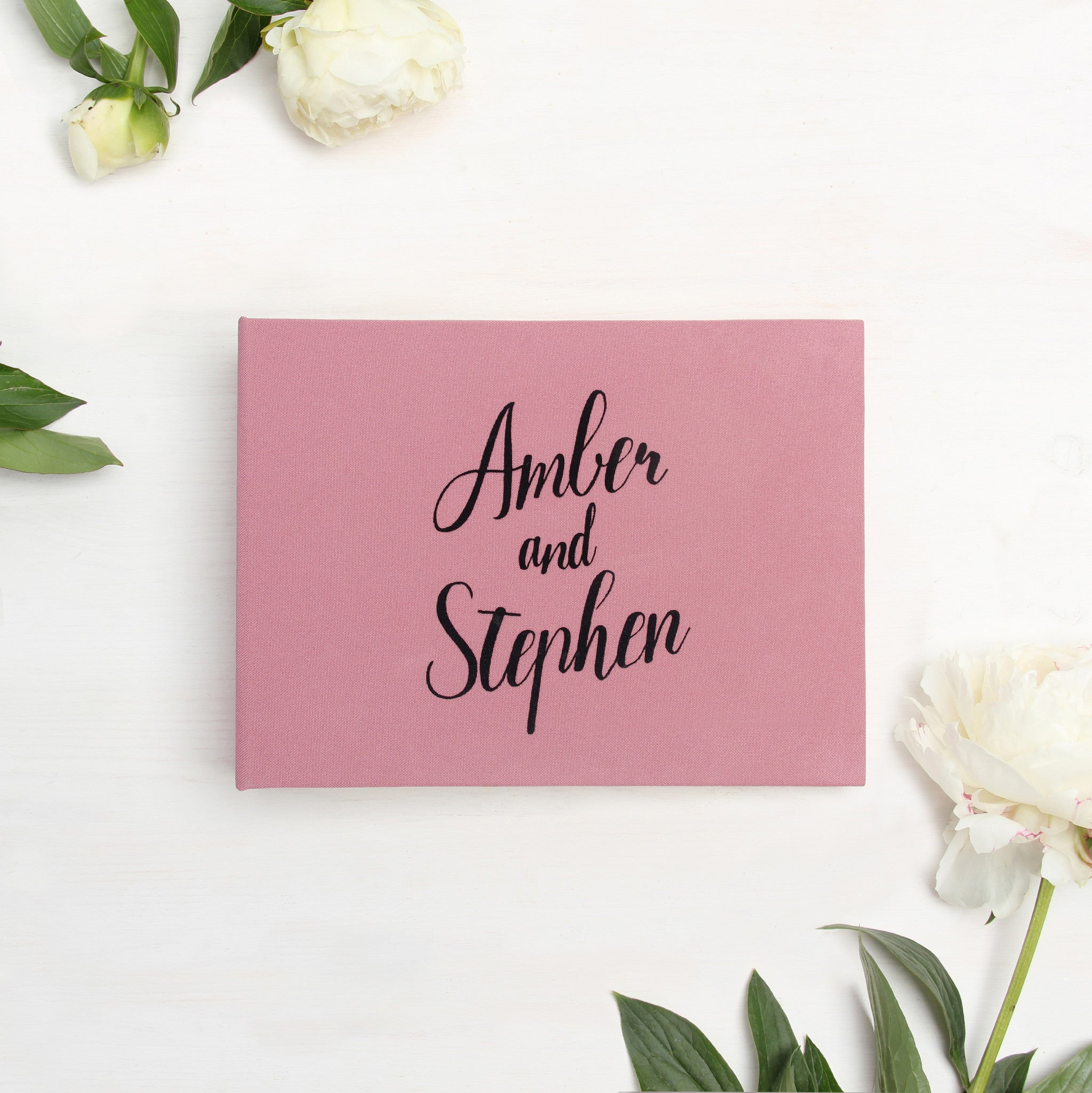 Instax Guest Book Sign in Book Instant Album Dusty Pink with Black Lettering - Liumy
