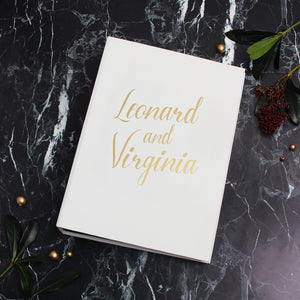 White with Gold Lettering Black pages Wedding Guestbook Birthday Album With Photo Pockets - Liumy