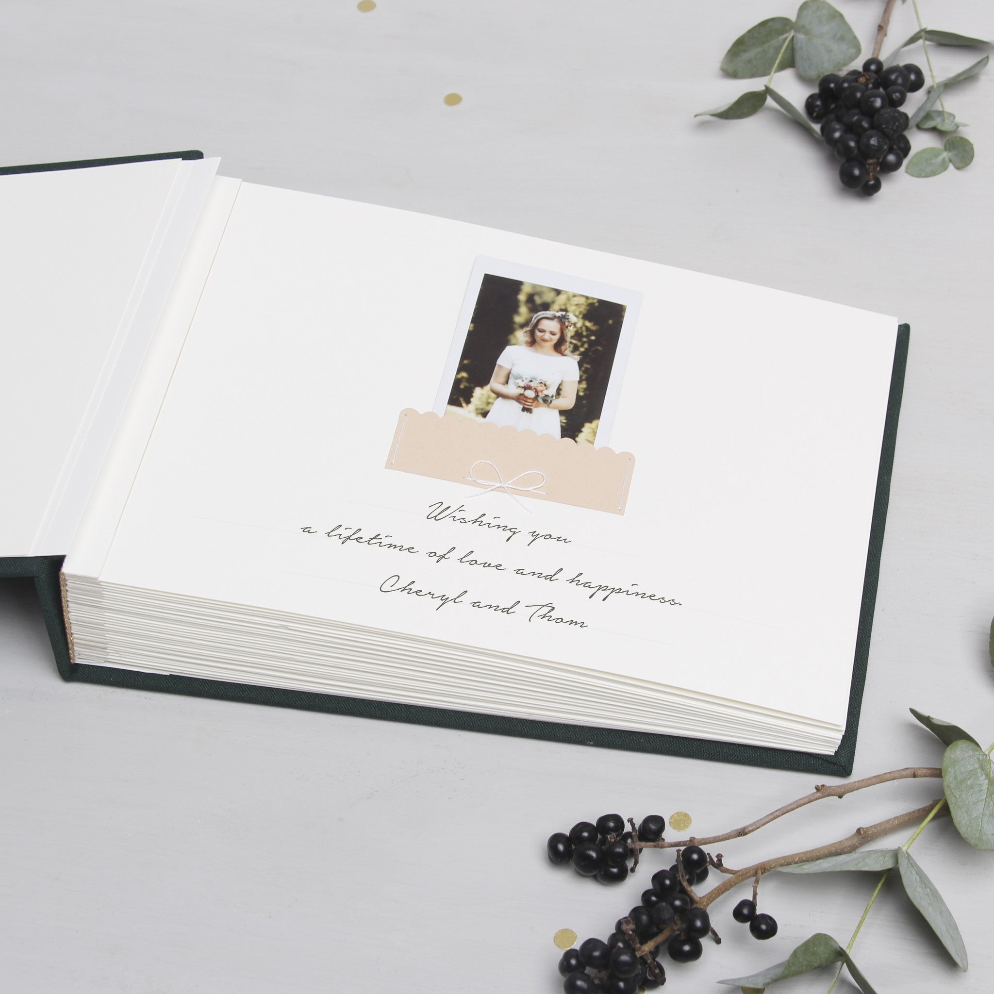 Guest Book Sign in Book Wedding Instant Photo Album Forest Green with Paper Label by Liumy - Liumy