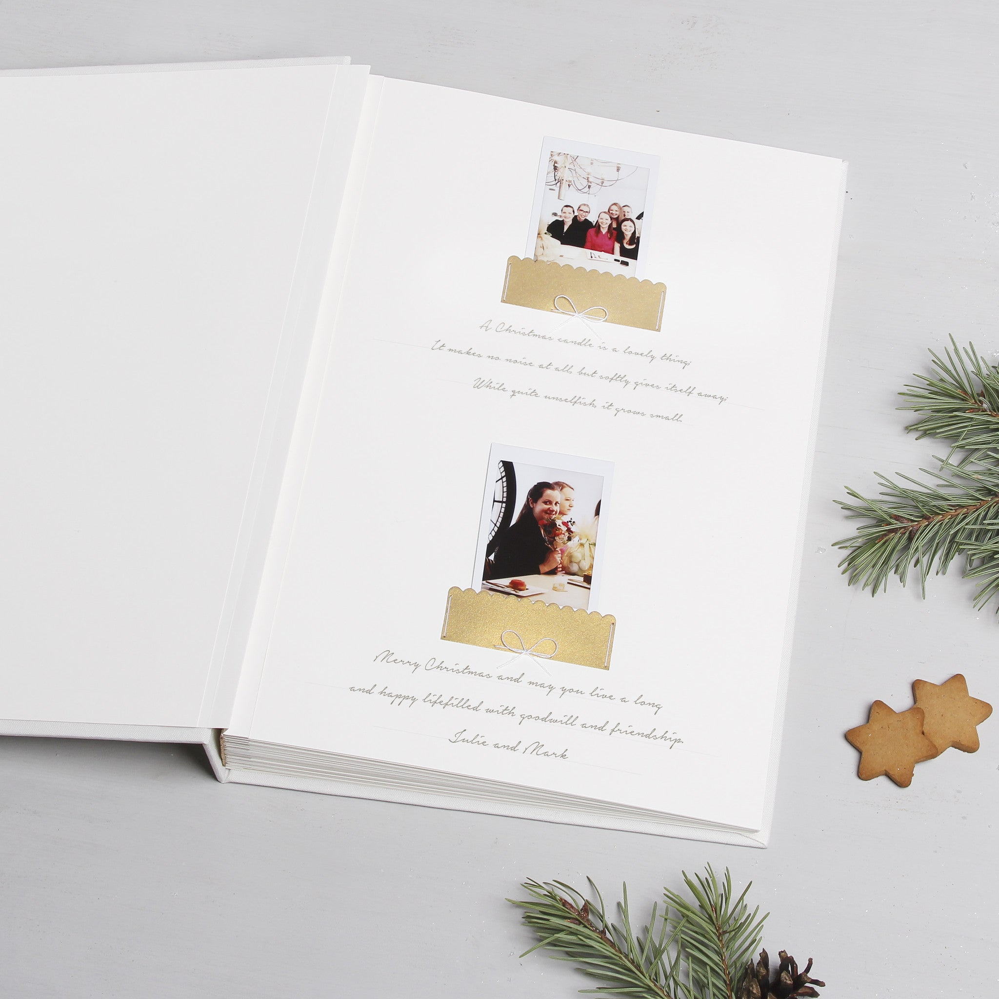 Christmas White Guest Book Photo Album with Gold Lettering by Liumy - Liumy