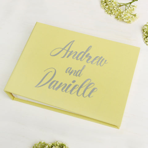 Instant Wedding Guest Book Album Instax Yellow with Silver Lettering - Liumy
