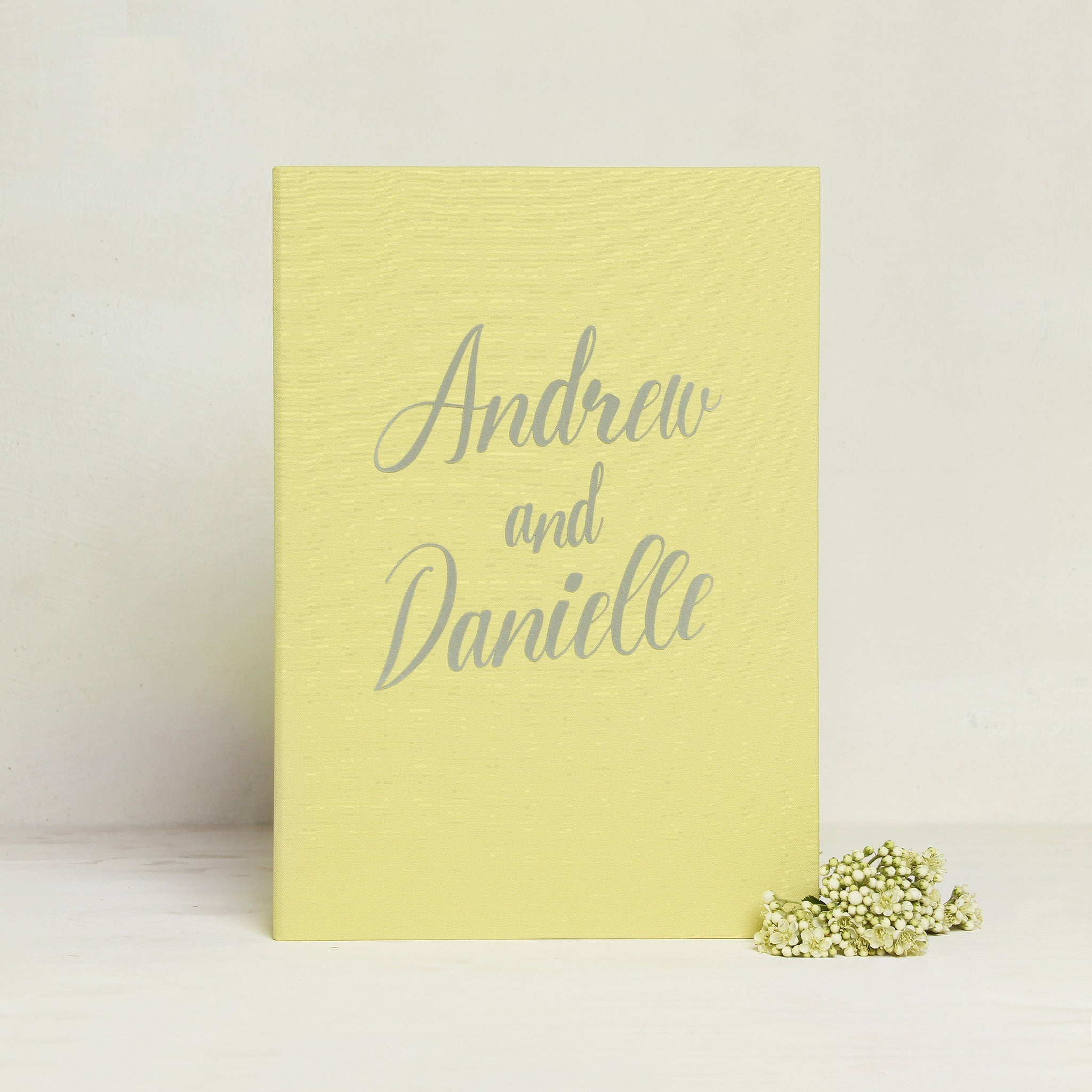 Instant Wedding Guest Book Album Instax Yellow with Gray Velour Lettering - Liumy