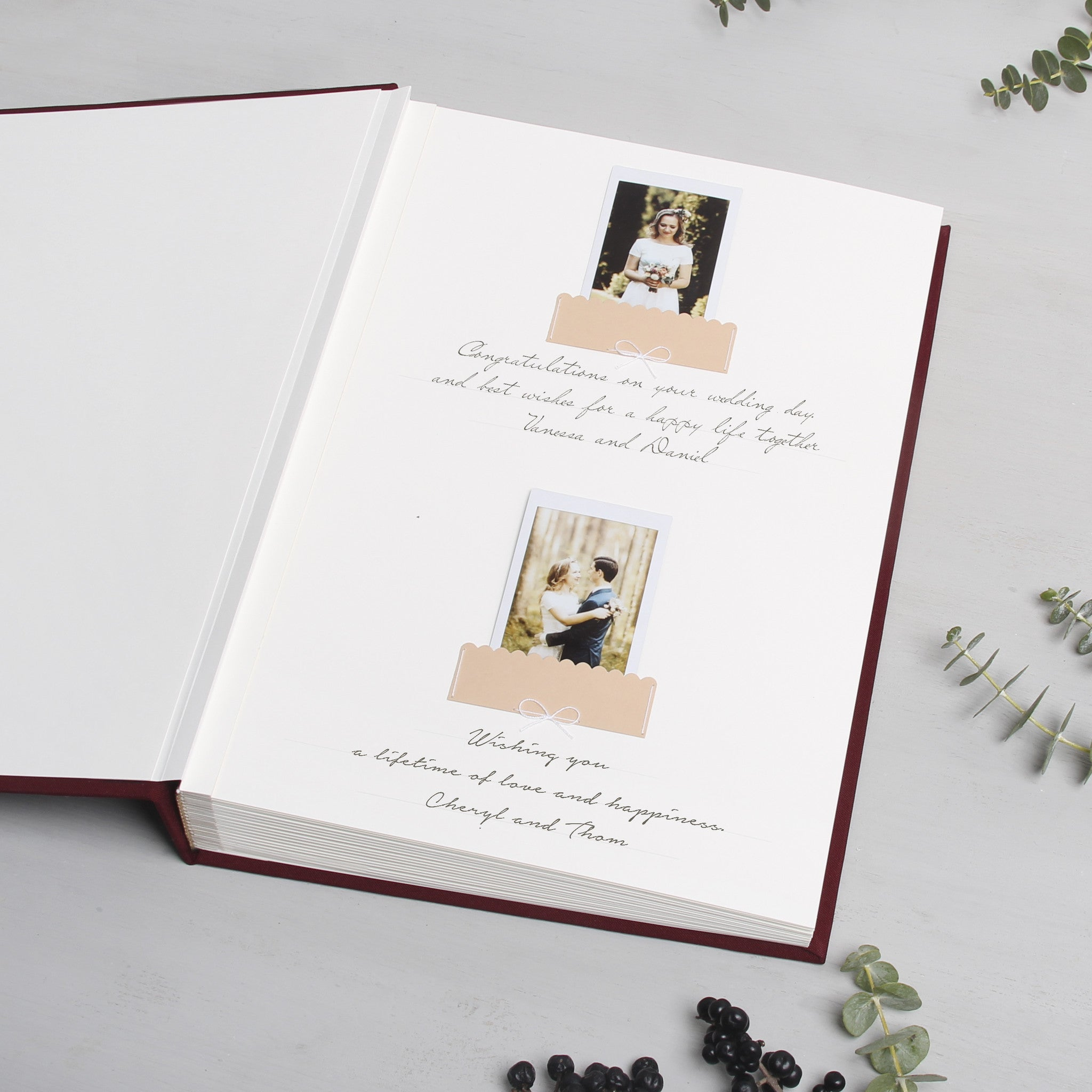 Instant Wedding Guest Book Album Marsala with Gold Lettering by Liumy - Liumy