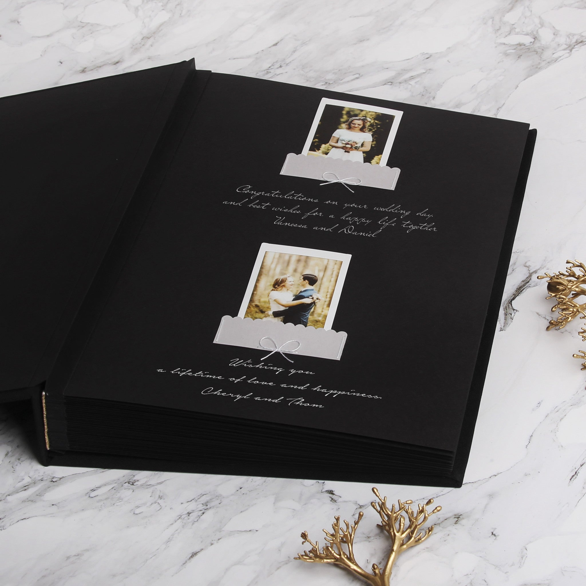 Guest Book Sign in Book Instant Album Black with Gold Lettering Black pages, Guestbook Ideas - Liumy
