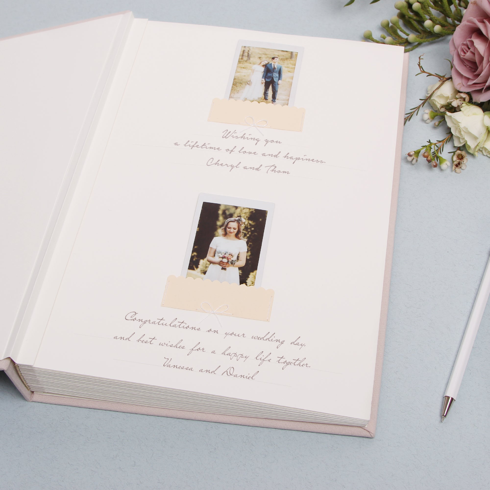 Classic Circle Alternative Cream Guest Book White Glitter Instax Picture Album, Bridal Shower Guestbook With Photo Pockets - by Liumy - Liumy