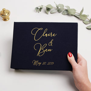 Wedding Album Navy Blue Gold Metallic Guest Book With Lettering, Instax picture album, Birthday Album Nautical - by Liumy - Liumy