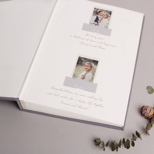 Wedding Album Gray Silver Metallic Guest Book With Lettering, Instax picture album, Birthday Album - by Liumy - Liumy